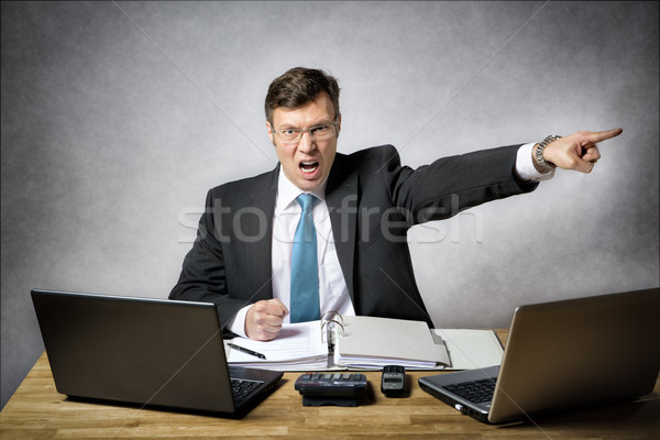 Mérges üzletember iroda kép öltöny sikít Stock fotó © w20er