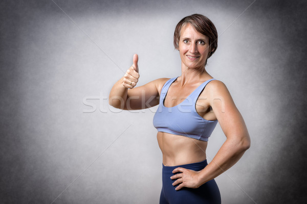 Orta yaşlı kadın başparmak yukarı orta yaşlı yakışıklı kadın Stok fotoğraf © w20er