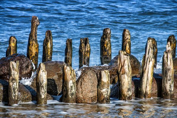 Wooden breakwater Stock photo © w20er