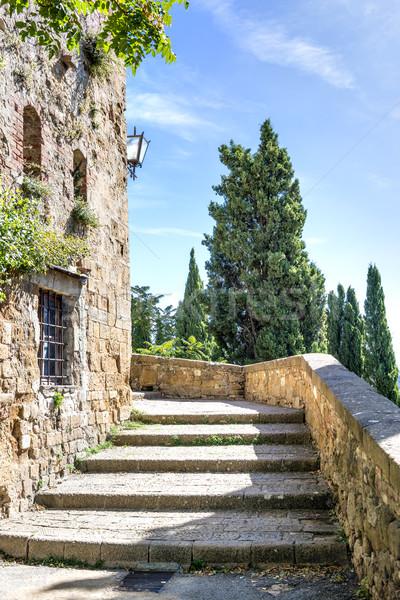 階段 晴れた イタリア ツリー 建物 ストックフォト © w20er