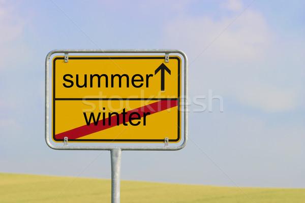 Felirat tél nyár citromsárga város szöveg Stock fotó © w20er