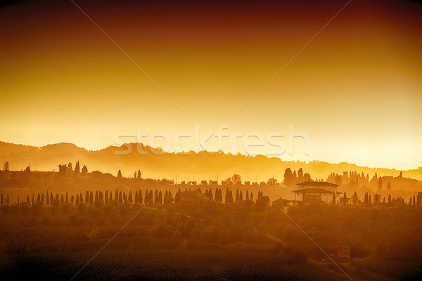 Toskana manzara gün batımı tepeler evler gökyüzü Stok fotoğraf © w20er