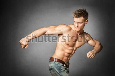 Jonge beweging blond atletisch man gezicht Stockfoto © w20er