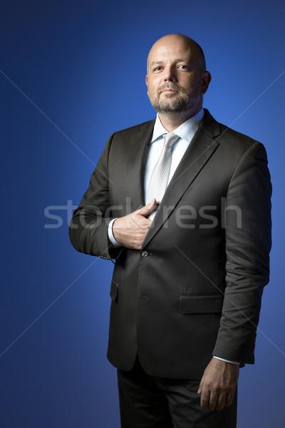 Ernstig zakenman zakenman donkere pak stropdas Stockfoto © w20er