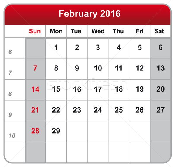 Calendar sheet February 2016 Stock photo © w20er