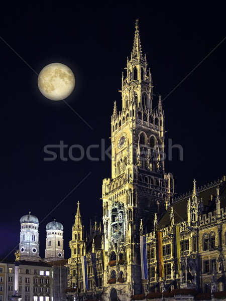 Night scene Munich Town Hall and moon Stock photo © w20er