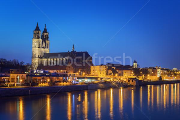 Night scene Magdeburg Stock photo © w20er