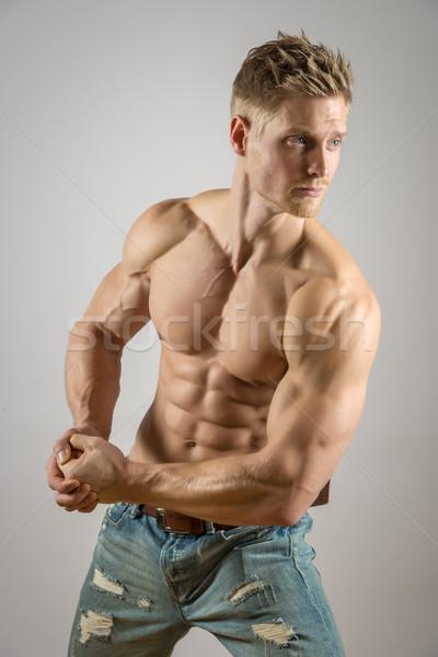Abdominális izom szőke sportos férfi arc Stock fotó © w20er