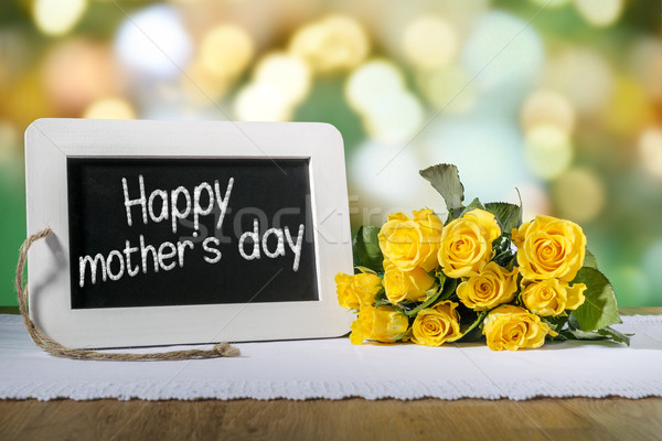 slate blackboard mothers day and roses Stock photo © w20er