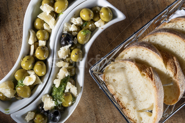 olives with bread Stock photo © w20er