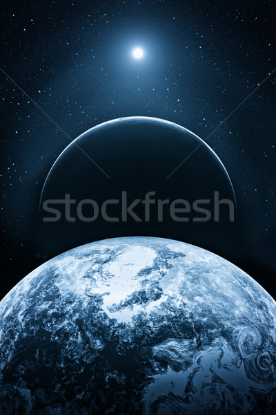Fictional space with planets Stock photo © w20er