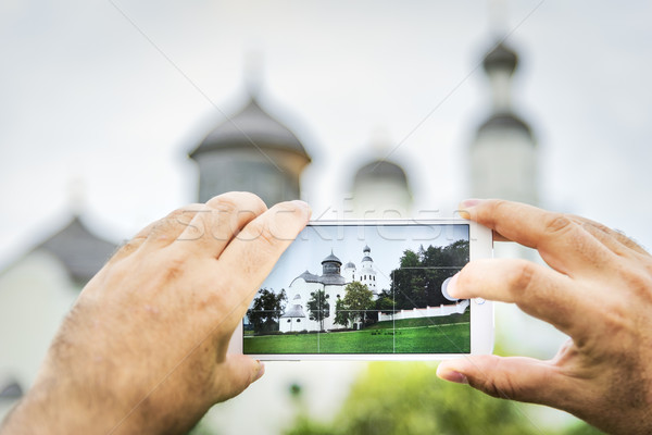 Mobiele shot bedevaart kerk Duitsland landschap Stockfoto © w20er