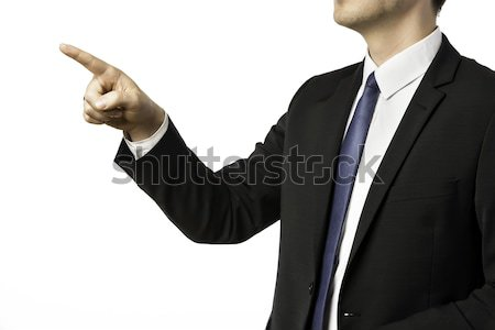 Closeup businessman holding his right hand up Stock photo © w20er