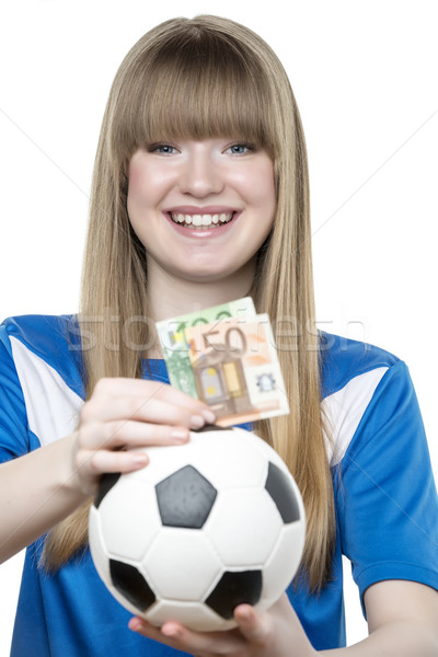 Girls football money box Stock photo © w20er