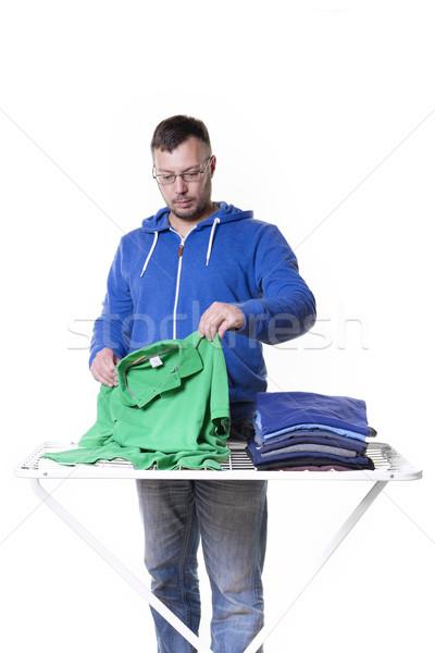 Uomo lavanderia lavori di casa insieme casa mano Foto d'archivio © w20er