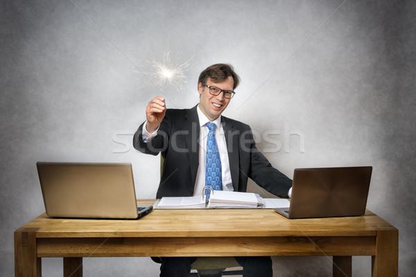 деловой человек бенгальский огонь изображение служба стороны человека Сток-фото © w20er
