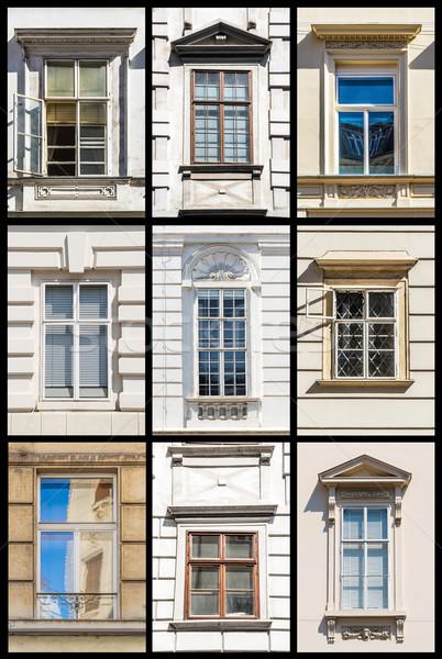 Kolekcja Wiedeń Windows historyczny budynków Austria Zdjęcia stock © w20er