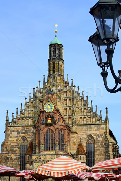 Church of Nuremberg with street lamp Stock photo © w20er