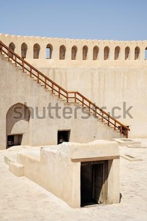 Fülke sivatag tábor Omán tájkép homok Stock fotó © w20er