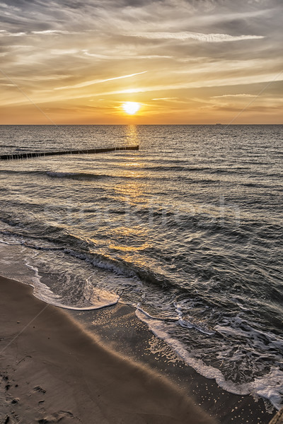 Naplemente Balti-tenger kép Németország tengerpart víz Stock fotó © w20er