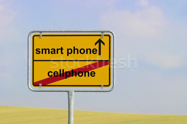 Stock fotó: Felirat · mobiltelefon · okostelefon · citromsárga · város · szöveg
