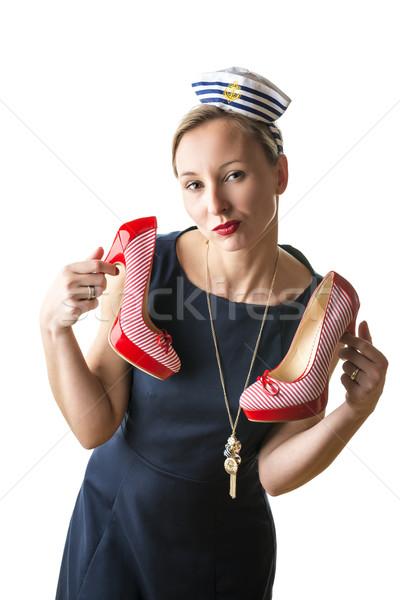Kobieta marynarz kostium młoda kobieta czerwony buty Zdjęcia stock © w20er