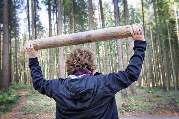 Kobieta fitness lasu obraz zdrowia tle Zdjęcia stock © w20er
