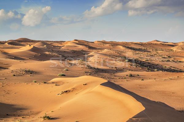 Stok fotoğraf: çöl · Umman · yeşil · bulutlar · mavi · gökyüzü
