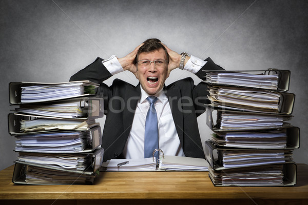 Overworked crying businessman Stock photo © w20er
