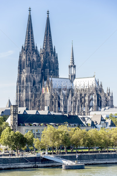 Cathedral of Cologne on banks of Rhine Stock photo © w20er