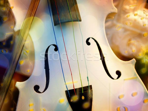 Witte viool bokeh afbeelding hout concert Stockfoto © w20er