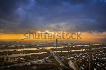 Vienna tramonto cityscape città cielo acqua Foto d'archivio © w20er