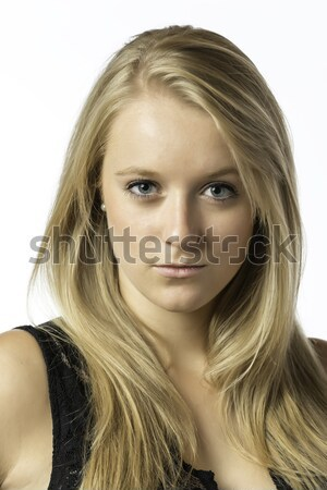 Portré szőke lány kék szemek izolált fehér Stock fotó © w20er