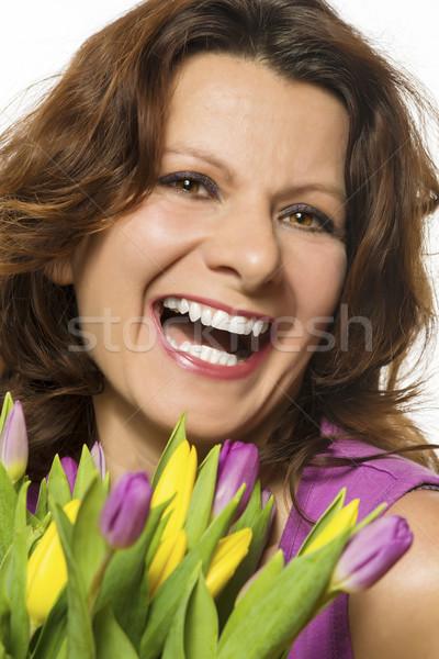 Stock fotó: Mosolygó · nő · virágok · rózsaszín · citromsárga · tulipánok · nő