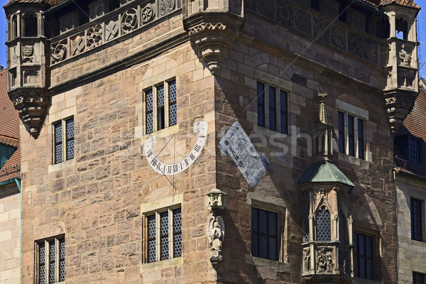 Nassauer house of Nuremberg with sundial Stock photo © w20er