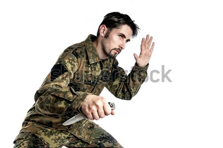 Zelfverdediging instructeur mes mannelijke camouflage oefening Stockfoto © w20er