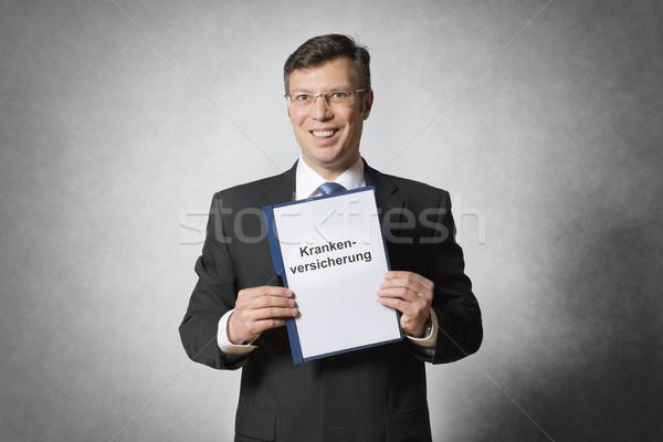 üzletember egészségbiztosítás boldog tart szerződés nő Stock fotó © w20er