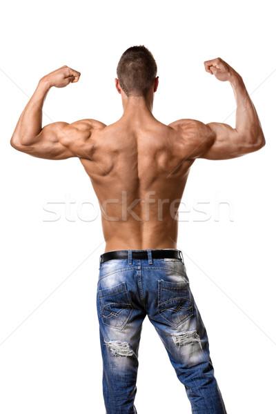 Atleta denim pantaloni indietro giovane bene Foto d'archivio © w20er