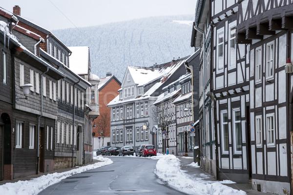 Straat huizen sneeuwval gebouw muur home Stockfoto © w20er