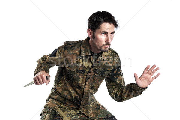 Self defense instructor with knife Stock photo © w20er