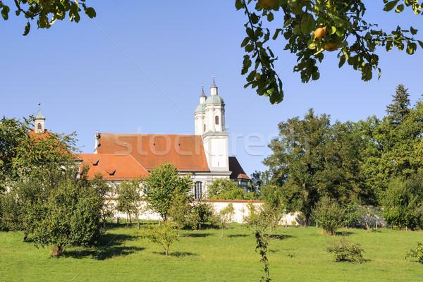Kolostor kép Németország nyár legelő kék ég Stock fotó © w20er