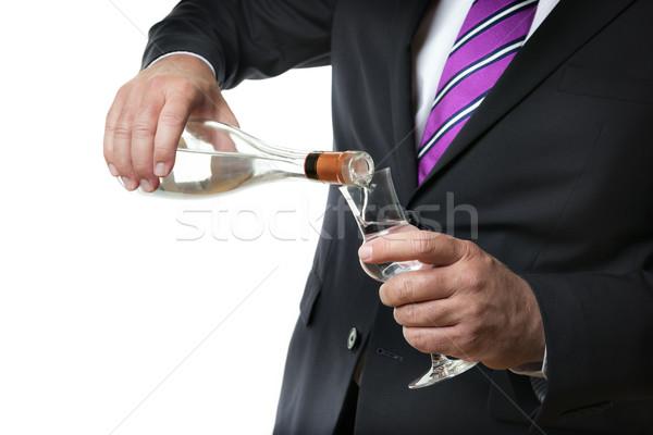 Iş adamı alkol karanlık şişe el Stok fotoğraf © w20er