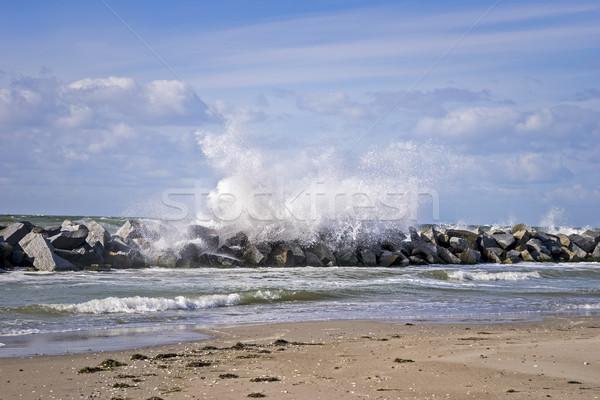 Orageux mer baltique côte jour vague plage Photo stock © w20er