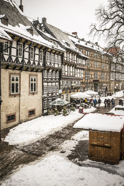 Street with half-timbered houses in Goslar, Germany Stock photo © w20er
