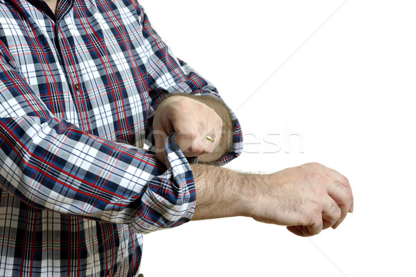 Człowiek w górę shirt odizolowany Zdjęcia stock © w20er