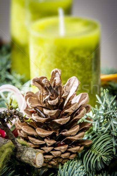 Dettaglio shot avvento ghirlanda cono candele Foto d'archivio © w20er