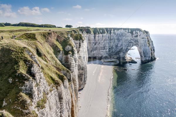 Part Normandia kövek tenger kék ég Franciaország Stock fotó © w20er