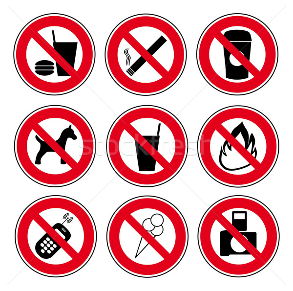 Icon set forbidden signs Stock photo © w20er