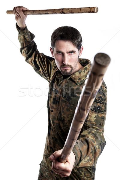 Zelfverdediging instructeur bamboe mannelijke camouflage oefening Stockfoto © w20er