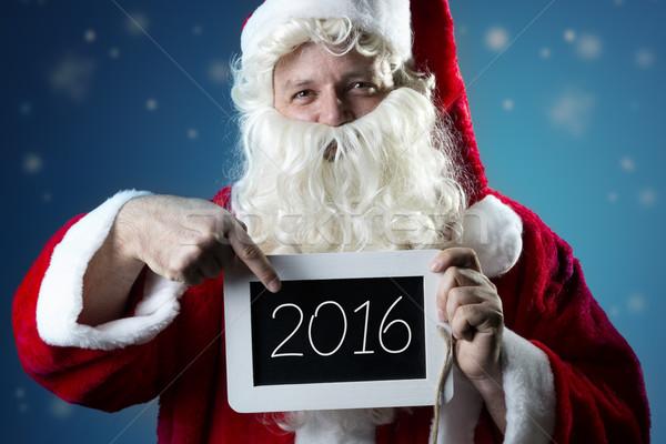 Portrait Santa Claus pointing on slate Stock photo © w20er